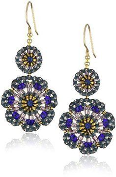 Miguel Ases Blue Quartz and Swarovski Flower Station Drop Earrings on shopstyle.com