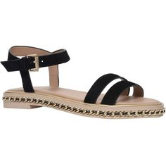 KG by Kurt Geiger Minny Chain Detail Flat Sandals, Black Suede ($145) ❤ liked on Polyvore featuring shoes, sandals, special occasion shoes, chain sandals, flat evening sandals, suede sandals and evening shoes