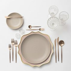 Anna Weatherley Chargers in Desert Rose/Gold +Heath Ceramics in French Grey + Moon Flatware in Brushed Rose Gold + Vintage Cut Crystal Goblets + Early American Pressed Glass Goblets + Vintage Champagne Coupes + Antique Crystal Salt Cellars  SHOP:Moon Flatware in Brushed Rose Gold
