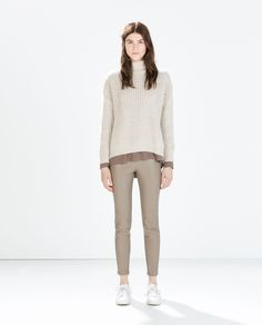Image 1 of FAUX LEATHER LEGGINGS WITH SEAM AT THE KNEE from Zara