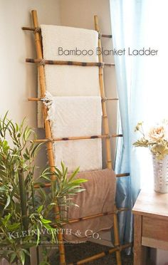 Bamboo Blanket Ladder,This is so beautiful. Great tutorial for DIY Bamboo Blanket Ladder Place blankets. We're the sort of household that . Pottery Barn Blankets, Rustic Blankets, Diy Ladder, Ladder Decor, Bamboo Ladders, Wooden Ladders, Rustic Blanket Ladder, Bamboo Blanket, Blanket Rack
