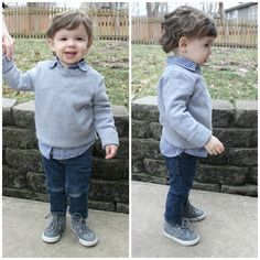 Cozy winter outfit idea for toddler boy - solid sweater, print button-up, jeans, and sneakers. Click through for details.
