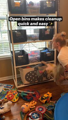 Playroom Storage, Toy Storage, Storage Spaces, Organization Hacks, Organizing, Home Daycare, Staying Organized, Storage Containers, Clean Up