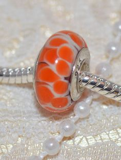 Orange Lotus Flower Authentic Handmade Murano by grammysattic12, $4.99
