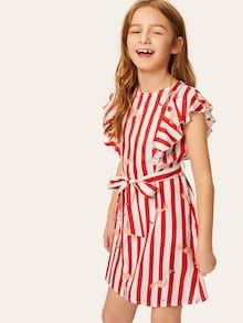 Girls Waist Belted Stripe Roll Sleeve Dress | SHEIN Kids Outfits Girls, Girl Outfits, Girls Dresses, Cute Outfits, Moda Junior, Natural Clothing, Girl Dress Patterns, How To Roll Sleeves, Baby Dress