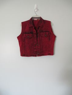 Vintage 80s Red Dyed Denim Vest by WayWeVintage on Etsy