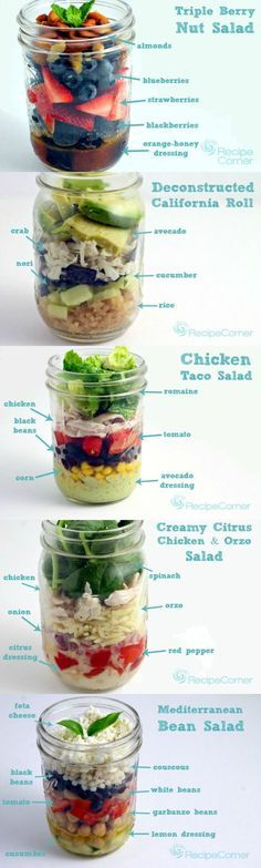 Pack one (or all!) of these mason jar salads for breakfast and lunch at work this week. | 7 Easy Ways To Eat A Little Healthier This Week