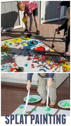This painting activity gets the whole body involved! It is such a creative way to create! I'll bet you already have all the materials for splat painting at home. This is great for toddlers and preschoolers and older! Summer Crafts For Toddlers, Summer Camp Activities, Art Activities For Toddlers, Creative Activities For Kids, Outdoor Activities For Kids, Summer Kids, Toddler Crafts, Preschool Summer Crafts, Art For Toddlers