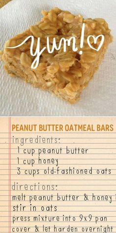 Peanut butter oatmeal bars - 3 ingredients Peanut butter, oats and honey bars KeepRecipes Your Universal Recipe Box Oats Recipes, Snack Recipes, Dessert Recipes, Cooking Recipes, Recipies, Peanut Recipes, Honey Recipes, Party Desserts, Sweet Recipes