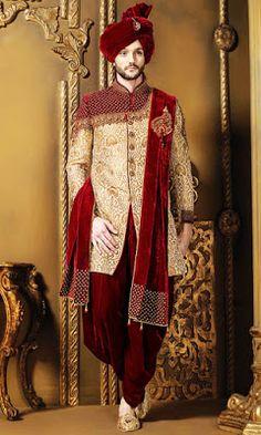 Dark red & gold khinkwab & velvet resplendent sherwani with mandarin collar Sherwani For Men Wedding, Wedding Dresses Men Indian, Groom Wedding Dress, Mens Sherwani, Sherwani Groom, Wedding Suits, Punjabi Wedding, Wedding Couples, Wedding Ideas