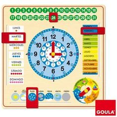 Goula Wooden Calendar Clock Product Features Learn how to tell the time Learn about days, months and seasons Made of high quality wood Bright, colourful and ta Wooden Calendar, Toys For 1 Year Old, Educational Toys For Toddlers, Presents For Kids, Wooden Clock, Telling Time, 1 Year Olds, Toys Shop, School Organization