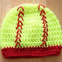 crochet softball hat | Softball Hat, crochet newborn photo prop, crochet photo prop, safety ...