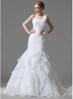 Wedding Dresses - $297.99 - Trumpet/Mermaid One-Shoulder Chapel Train Organza Satin Wedding Dress With Beading Flower(s) Cascading Ruffles  http://www.dressfirst.com/Trumpet-Mermaid-One-Shoulder-Chapel-Train-Organza-Satin-Wedding-Dress-With-Beading-Flower-S-Cascading-Ruffles-002004150-g4150