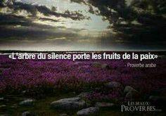 """""""L'arbre du silence porte les fruits de la paix."""" ~Proverbe Arabe~"""