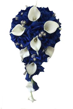 Cascade Bouquet Royal Blue Horizon Roses and by AngelIsabella