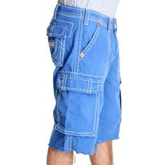 TRUE RELIGION MEN ISSAC BIG T CARGO SHORT BLUE 30