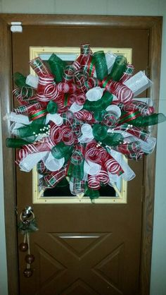 Christmas deco mesh curly wreath