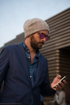 http://chicerman.com  1000yardstyle:  Pitti Uomo Mens street style  #menscasual