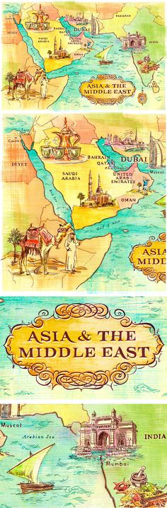 Map of Asia & the Middle East - Jacqui Oakley Illustration and Lettering