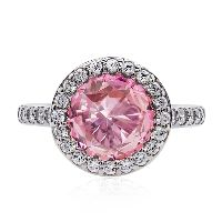 2.5CT BORDERSET IN FANCY PINK - simulated diamond engagement ring - $214.00