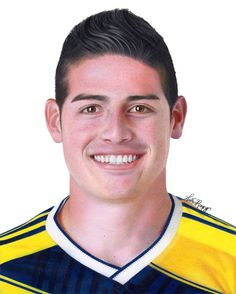 Heather Rooney Art - Colored pencil drawing of James Rodriguez -  Soccer player of Columbia (2014)