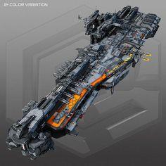 scifi frigate g2 3d model low-poly max obj fbx mtl 1