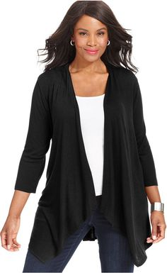 This is my favorite cardigan. It hangs beautifully in the front and has pleats in the back that make your bum look great! Plus Size Peplum-Hem Cardigan