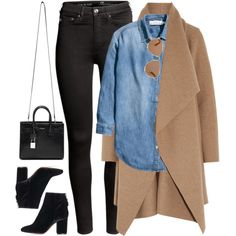 What I'd Wear by monmondefou on Polyvore featuring moda, H&M, Harris Wharf London, Topshop, Yves Saint Laurent, Christian Dior, Fall, black, denim and camel