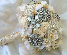 Bridal Brooch Bouquet Wedding bouquet Ivory Wedding by BoHoBridal, $350.00