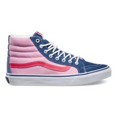 In love with our Tri-Tone Sk8-Hi Slim in Navy/Pink/Red. Looks like cotton candy!// I am not proud of the sound I made when I first saw this bad boy..