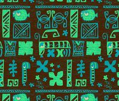 tiki tony tapa brown fabric by tikitony on Spoonflower - custom fabric