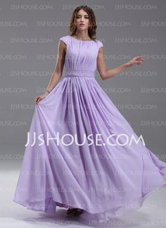 Kate Middleton Style - $139.99 - A-Line/Princess Scoop Neck Floor-Length Chiffon Kate Middleton Style With Ruffle Beading (044007571) http://jjshouse.com/A-Line-Princess-Scoop-Neck-Floor-Length-Chiffon-Kate-Middleton-Style-With-Ruffle-Beading-044007571-g7571