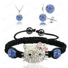 Hello Kitty Fashion Shamballa Sets Shamballa Bracelet & Earrings & Pendant Micro Pave CZ Disco Ball Beads Shamballa Jewelry