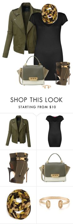 """Military Chic!!"" by ksims-1 ❤ liked on Polyvore featuring LE3NO, Boohoo, Giuseppe Zanotti, ZAC Zac Posen, MICHAEL Michael Kors and Kendra Scott"