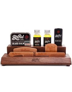 The 'Master Kit' is the Ultimate Big Red Beard Comb kit. A beautiful American Black Walnut slab offers designated slots to hold, the included, No.9, No.7, No.5 and No.3 in place. Beside the combs you will find slots to hold the included, 2 Big Red Beard Oils, 1 Big Red Beard Balm and 1 Big Red Moustache Wax. Use the Master Kit not only as a storage block but as a display stand to keep your Big Red merch looking good and easily within reach. Each 'Master Kit' will have different grain and…