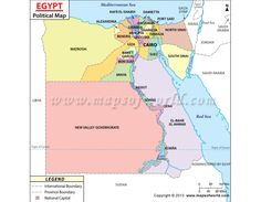 Egypt Map - Explore map of Egypt, a transcontinental country located in North Africa. Egypt is bordered by Libya to the west, the Sudan in south and the Gaza Strip and Israel to the east. Egypt Map, Port Said, Social Studies Worksheets, Country Maps, Giza, Mediterranean Sea, Africa Travel, Cartography, North Africa