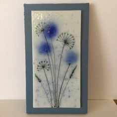 Glass Floral Wall Hanging, Glass Art Flowers ,Blue Flowers with sedheads, Wall Hanging, Home decor, Wall Art, Gift for her, Mother Day Gift by WarmGlassFusion on Etsy