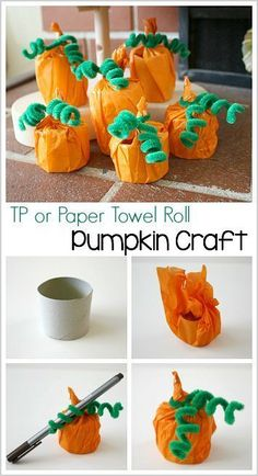Halloween and Fall Crafts for Kids: Tissue Paper Pumpkins using cardboard tubes or empty tp rolls. Make a cute decoration or treat holder for…