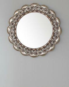 Bone Encrusted Silver Round Moroccan Mirror