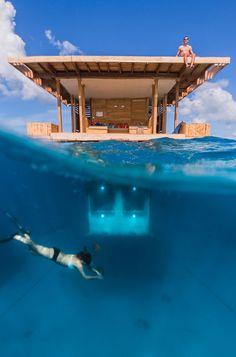 The Manta Resort's Underwater Room Off Pemba Island, Tanzania   http://www.yatzer.com/manta-underwater-room-pemba-tanzania photo by Jesper Anhede. Courtesy of Genberg Art UW Ltd.