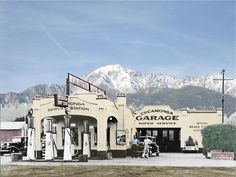 Cucamonga garage in So. Calif. with Mt. Baldy in the bkgrnd.