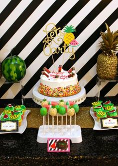 Modern fruit birthday party dessert table!  See more party planning ideas at CatchMyParty.com!