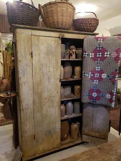 Primitive Cabinets, Primitive Furniture, Primitive Antiques, Country Furniture, Country Primitive, Primitive Pillows, Country Sampler, Antique Furniture, Diy Furniture