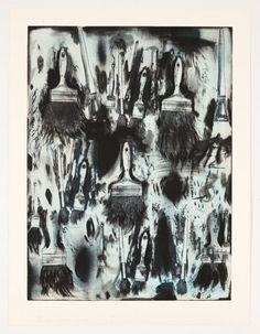 JIM DINE Cobalt Teal Paint Brushes, 2010 Paper Size: x 32 inches Two-color lithograph with etching and hand-coloring. James Rosenquist, Jim Dine, Teal Paint, Collage Techniques, Claes Oldenburg, Jasper Johns, Roy Lichtenstein, Print Artist, Elementary Art