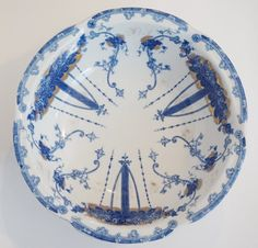 W.W.R. & Company large blue and white ceramic bowl with gold accents. This is a reproduction piece that has the look of a late 19th century Staffordshire bowl. Very nice decorative accent! Details: -