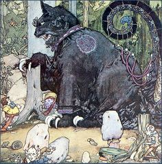 Vintage Children's Illustration--Black Cat and Elves