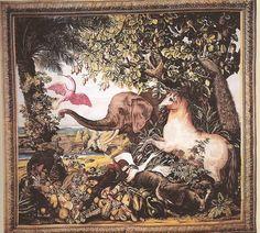 O Elefante ou O Cavalo isabel Autor do modelo: Albert Eckhout (c.1610-1665) Tapeçaria - Baixo liço - Lã e seda - Ateliê Jean Mozin 2º tapeçaria - 1º guarnição - Tecelagem entre 12 de julho de 1689 e o 2º quarto de 1690 Altura 4,70 m; comprimento 4,90 Coleção Mobiliário Nacional