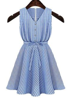 Casual V-Neck Sleeveless Striped Button Design Women's Dress