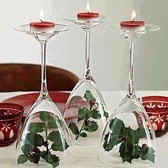 unique and stylish Christmas Dining Table Decor Inspiration, I would add a bow! Christmas On A Budget, All Things Christmas, Christmas Wedding, Christmas Home, Christmas Holidays, Christmas Crafts, Christmas Candles, Simple Christmas, Cheap Christmas