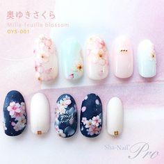 Love the sakuras on navy with feel Flower Nail Designs, Nail Art Designs, Winter Nails, Spring Nails, Cute Nails, Pretty Nails, Cherry Blossom Nails, Kawaii Nails, Floral Nail Art